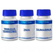 KIT  Tribulus Terrestris + ZMA + Silimarina 60 cápsulas (total 180 cápsulas) - Aumento de Libido, Produção de Testosterona, Protetor do Fígado