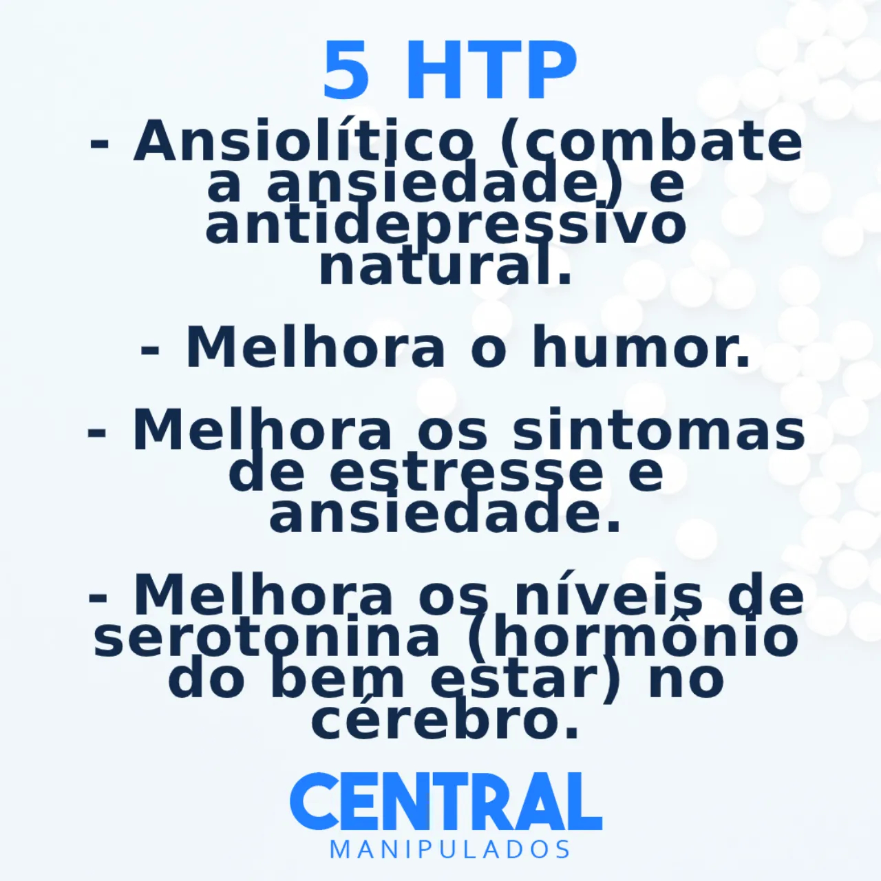 5 HTP 100mg - 60 cápsulas - Ansiolítico e antidepressivo natural