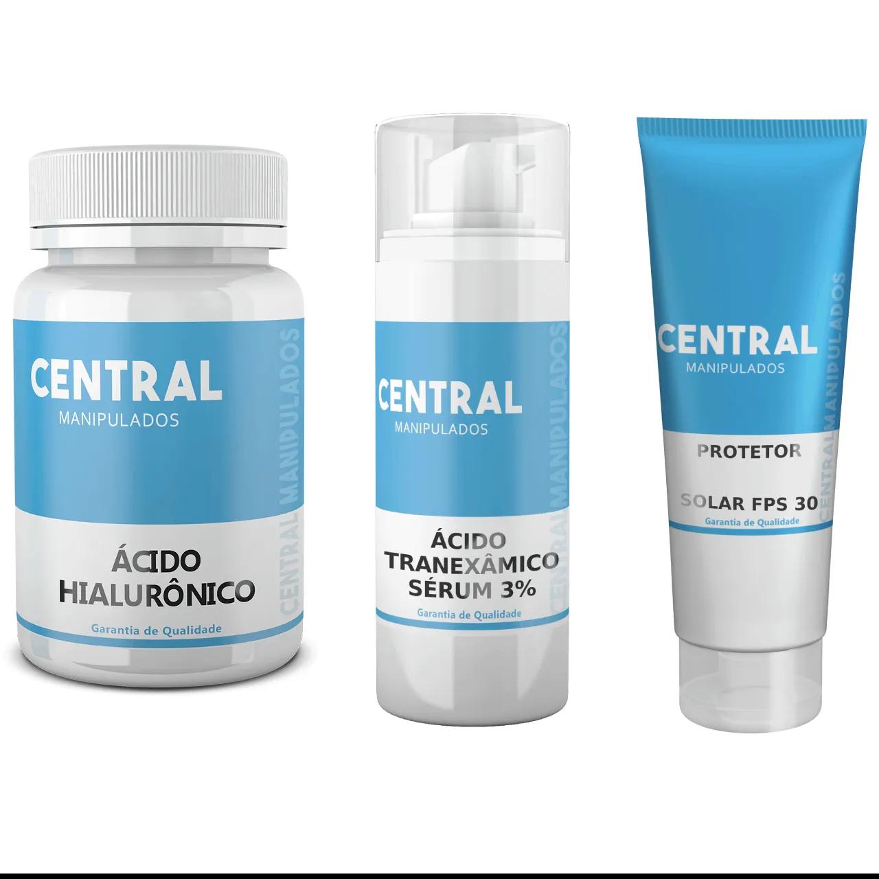 Ácido Hialurônico 50mg - 30 cápsulas + Sérum de Ácido Tranexâmico 3% - 30mL + Protetor Solar Toque Seco FPS 30 - 60 gramas