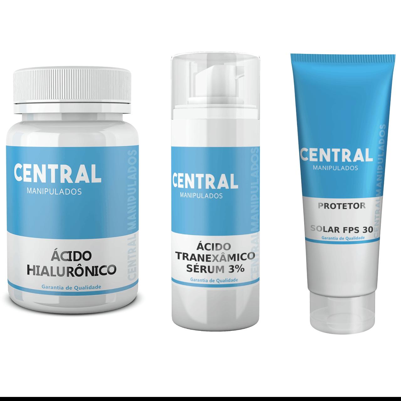 Ácido Hialurônico 50mg - 30 cápsulas + Ácido Tranexâmico 3% - 30mL Sérum + Protetor Solar Toque Seco FPS 30 - 60 gramas