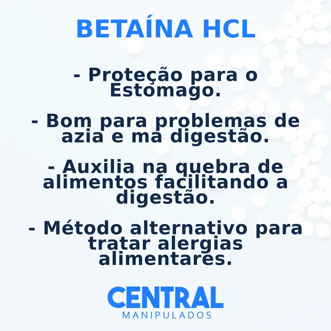 Betaína HCL 300mg - 60 cápsulas - Proteção para o Estomago, Problemas de azia e má digestão