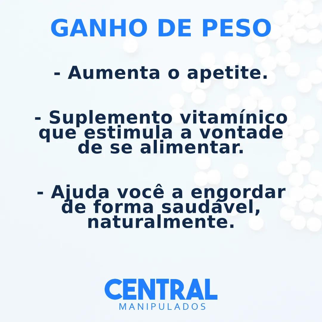 Buclizina 50mg + Cloridrato de Ciproeptadina 5mg + Vitamina B12 500mcg + Vitamina B1 50mg + Vitamina C 200mg - Ganho de Peso - 30 cápsulas
