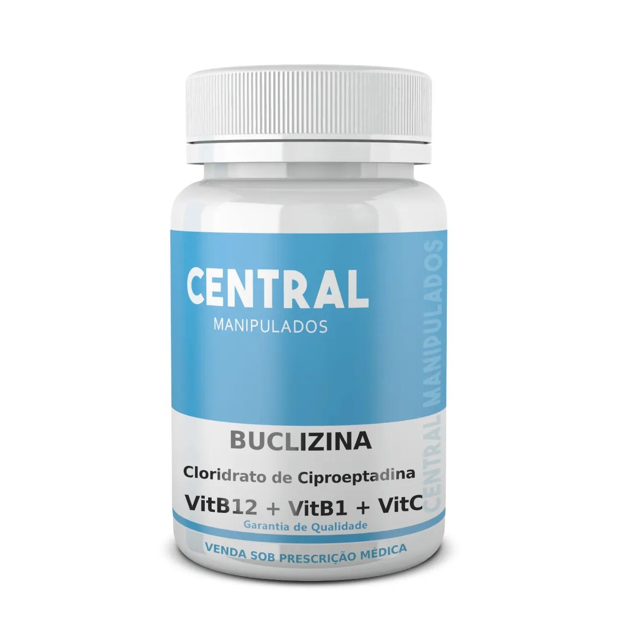 Buclizina 50mg + Cloridrato de Ciproeptadina 5mg + Vitamina B12 500mcg + Vitamina B1 50mg + Vitamina C 200mg - Ganho de Peso - 60 cápsulas