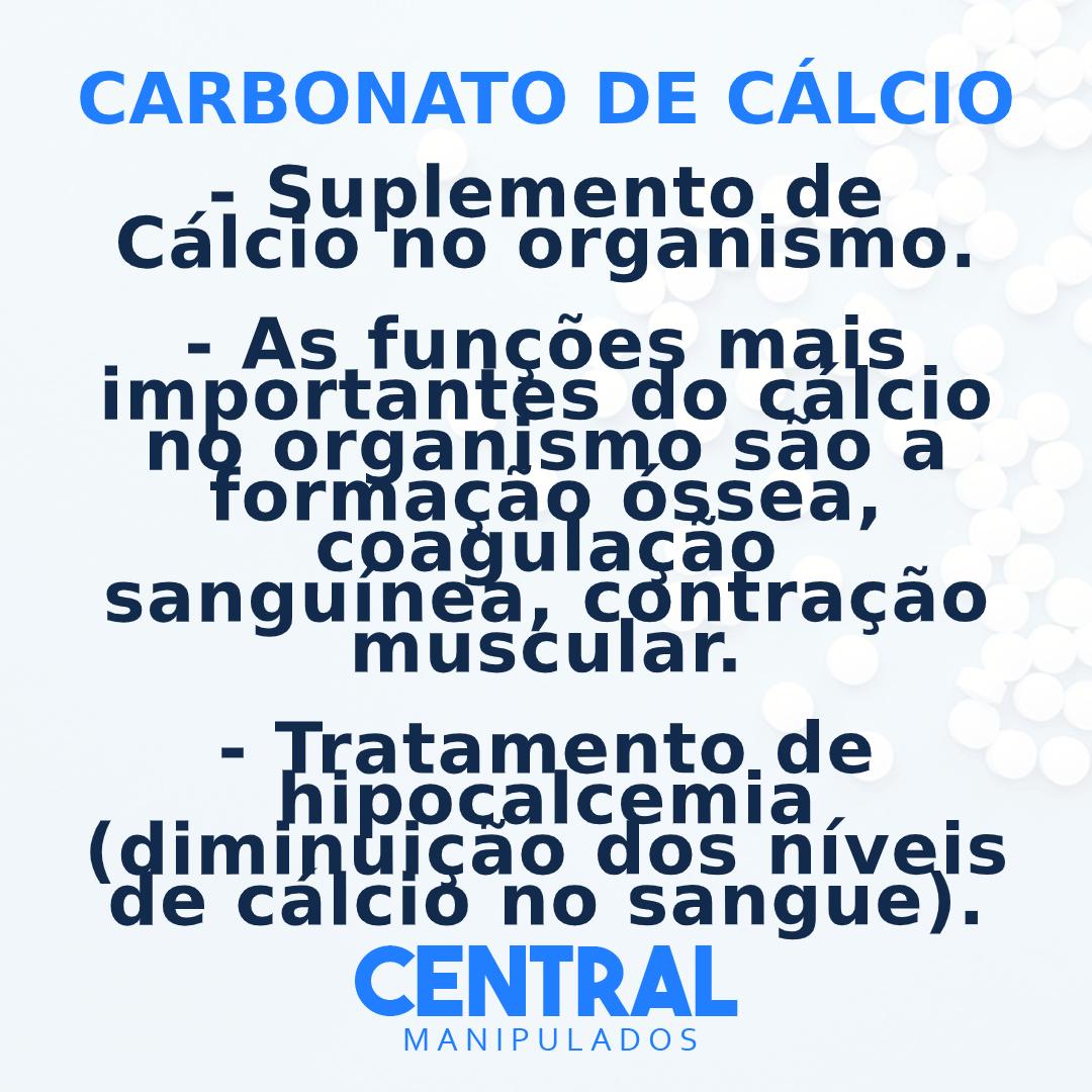 Carbonato de Cálcio 600mg - 30 cápsulas - Suplemento de Cálcio