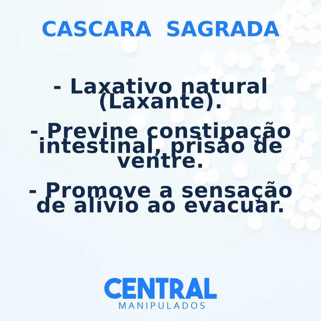 Cascara Sagrada 75mg - 30 cápsulas - Previne constipação intestinal, Laxativo