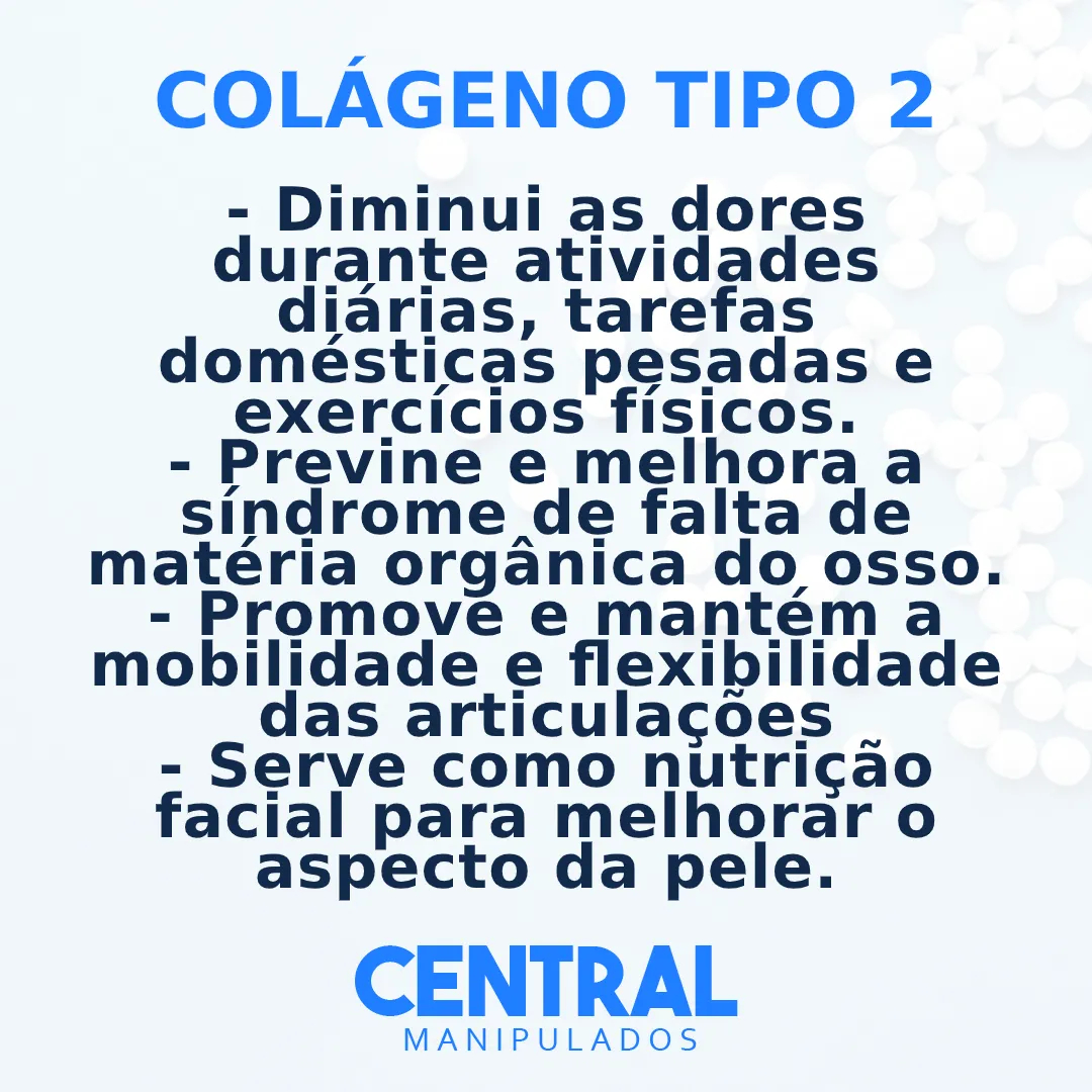 Colágeno Tipo 2 40MG - 60 cápsulas - Dores Articulares, Ósseas e das Cartilagens