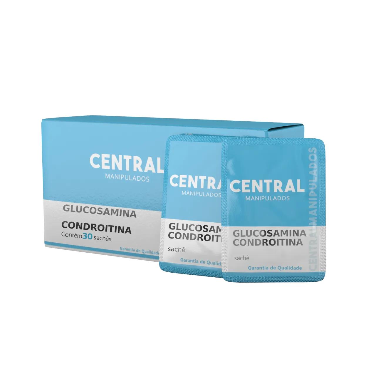 Glucosamina 1,5g  + Condroitina 1,2g - 30 sachês efervescente - Sem sabor - Restaurar as articulações e cartilagens, Reduzir câimbras musculares e espasmos