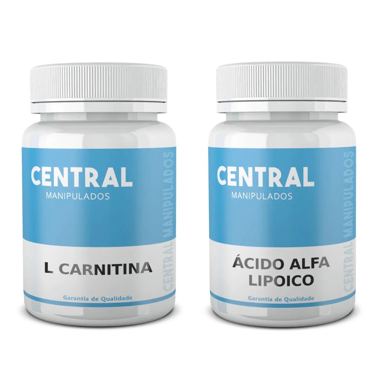 L Carnitina 500mg + Ácido Alfa Lipoico 100mg 30 cápsulas de cada - TOTAL 60 cápsulas - Redução de colesterol, da gordura localizada e no Fígado, Antioxidante