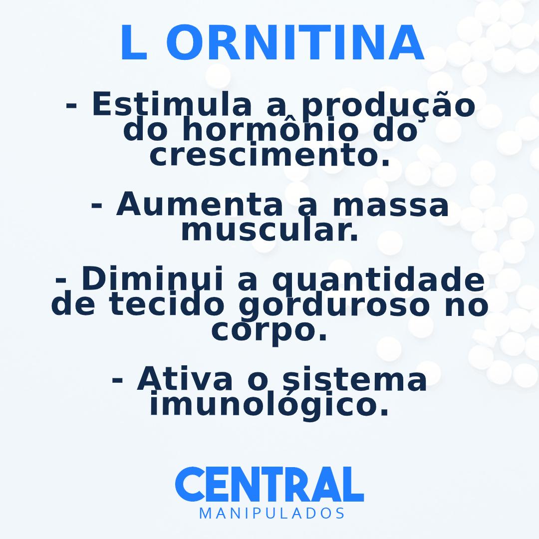 L Ornitina 300mg - 120 cápsulas - Estimula produção do hormônio do crescimento, incrementa a massa muscular, diminui tecido gorduroso, ativa imunidade e a função hepática