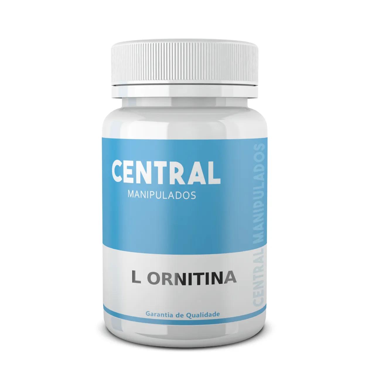 L-Ornitina 300mg - 30 cápsulas - Estimula produção do hormônio do crescimento, incrementa a massa muscular, diminui tecido gorduroso, ativa imunidade e a função hepática