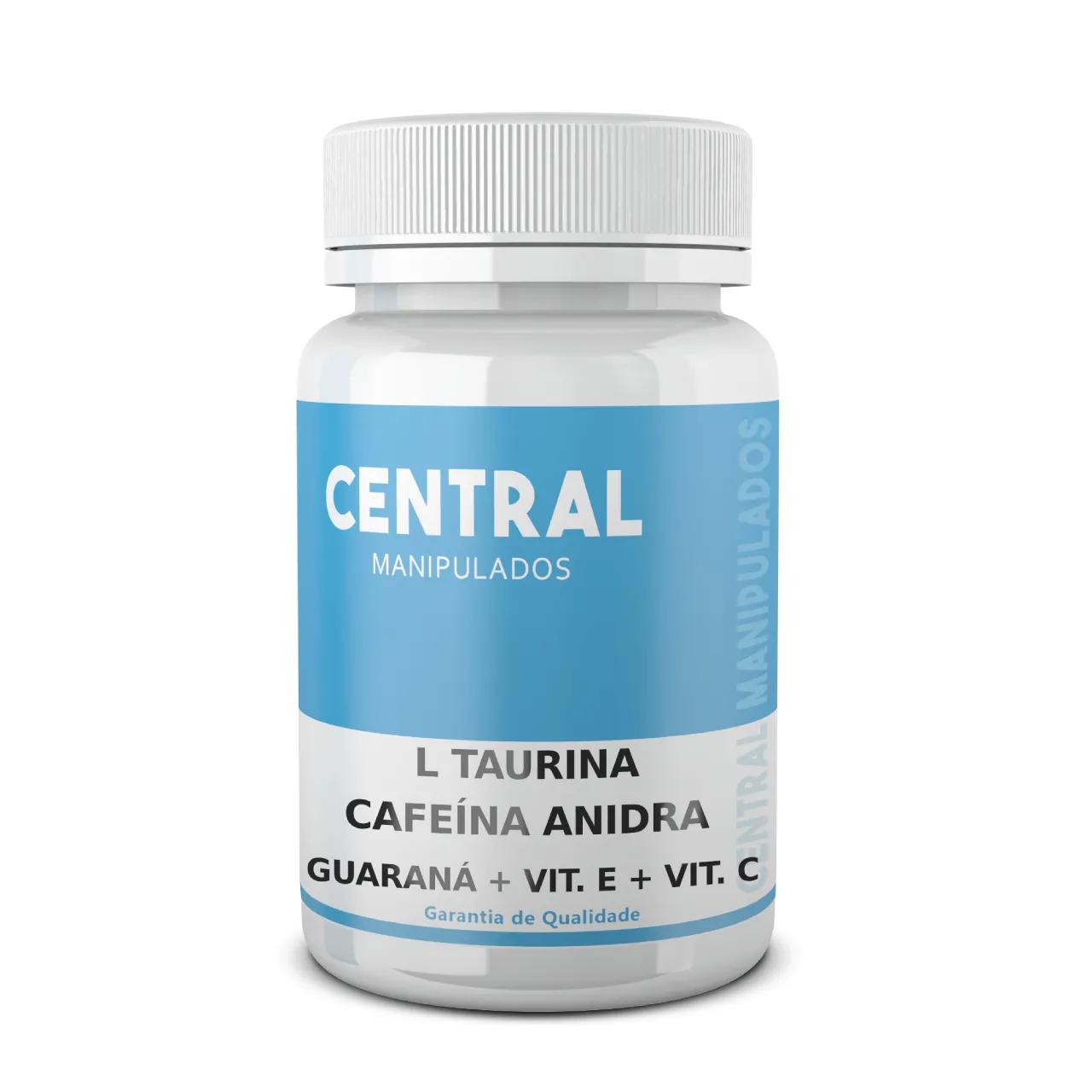 L Taurina 150mg  + Cafeína Anidra 60mg + Guaraná 100mg + Vit E 30mg + Vit C 50mg - Energia e Disposição - 60 cápsulas