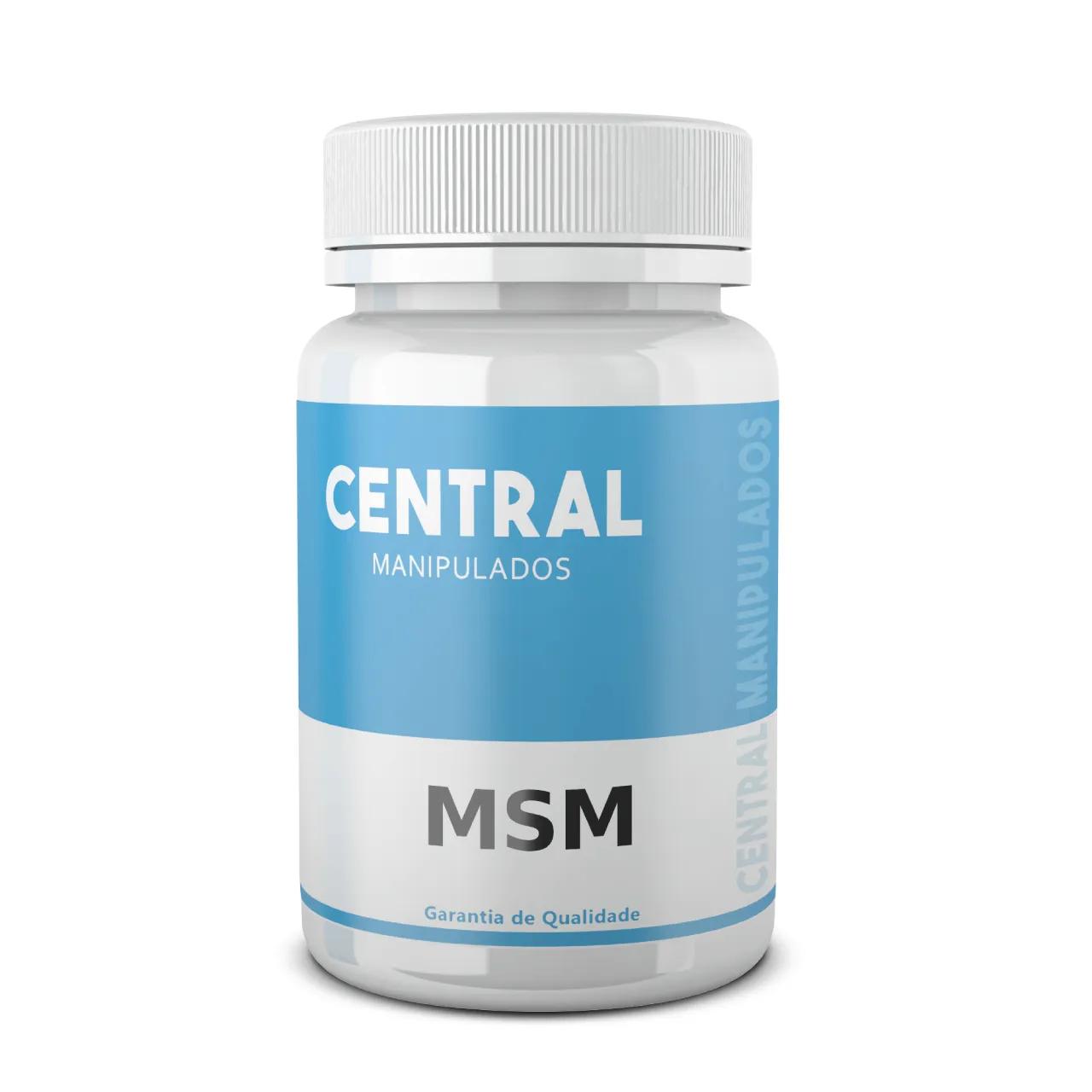 MSM 500mg - 60 cápsulas - forma natural de enxofre orgânico - Para cabelos e unhas fracos e quebradiços, Celulite, estrias, rugas e pele grossa