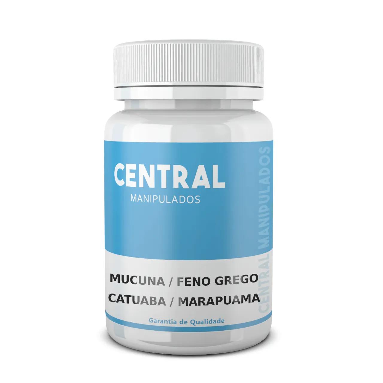Mucuna 300mg + Feno grego 200mg + Catuaba 200mg + Marapuama 200mg 60 cápsulas - Fórmula para Saúde Sexual, Aumento de Testosterona e Libido
