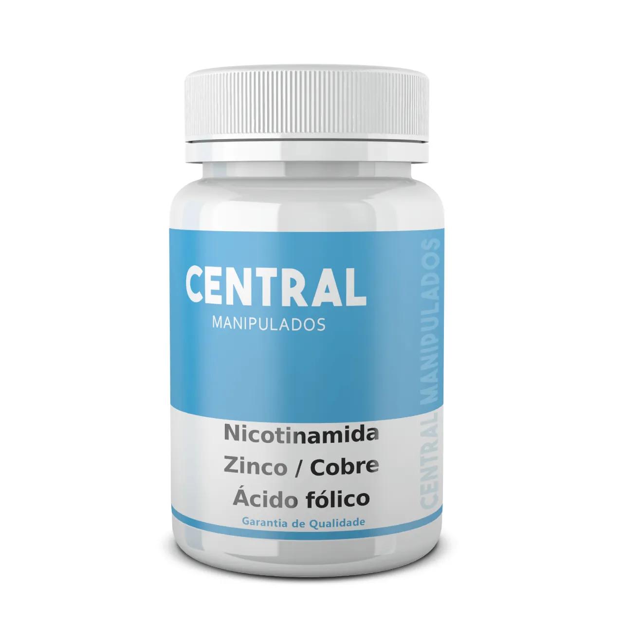 Nicotinamida 100mg + Zinco 25mg + Cobre 3 mg + Ácido fólico 500mcg - 90 cápsulas - Anti Acne