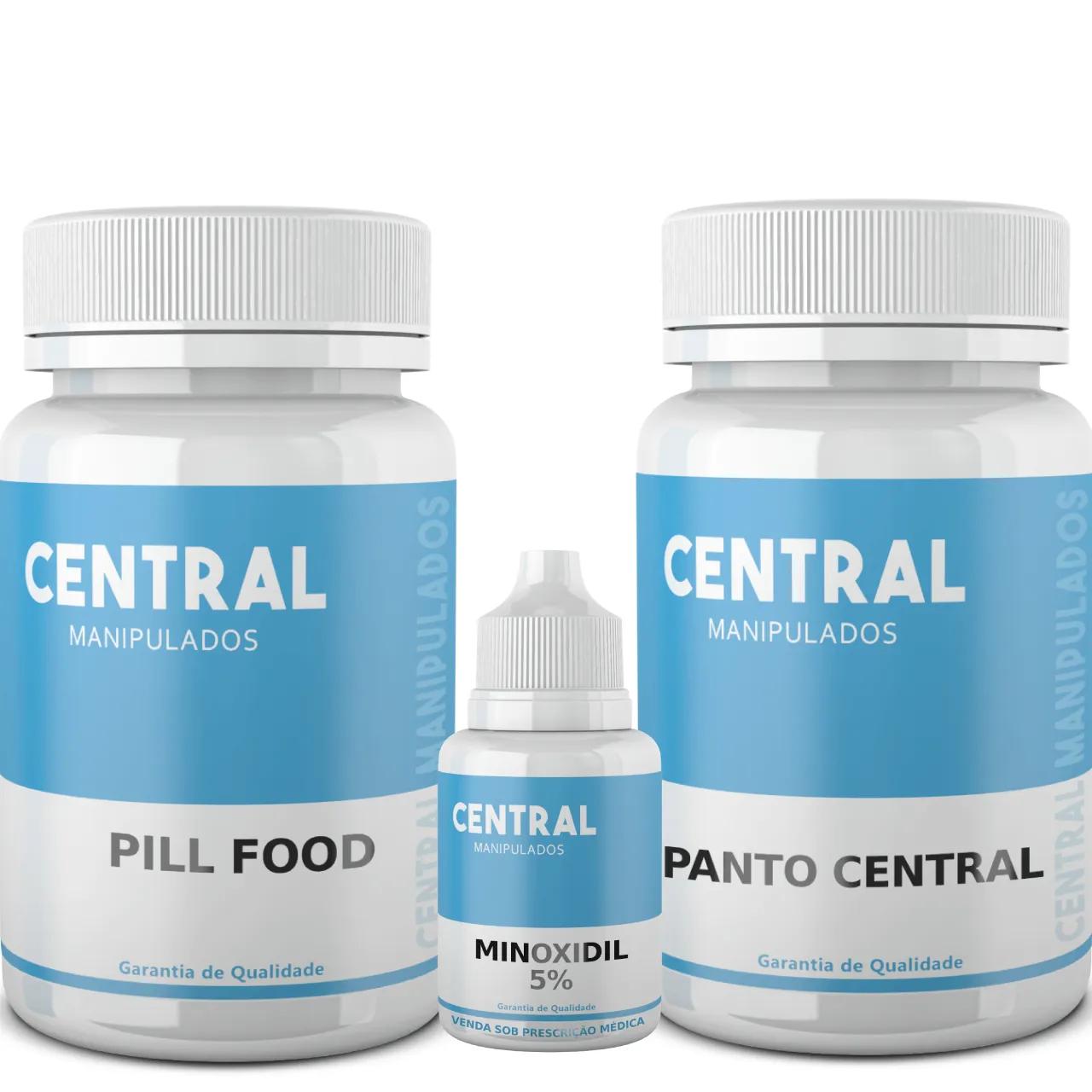 Pill Food 60 cápsulas + Minoxidil 5% 100ml Solução + PantoCentral 60 cápsulas
