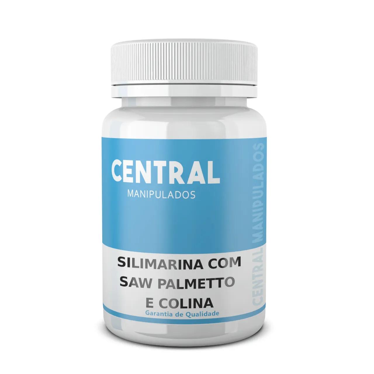 Saw Palmetto 160mg + Silimarina 200mg + Colina 10mg- 90 Cápsulas - Prevenção de doenças da Próstata, Anti-inflamatória, Protetor do Fígado, Melhora da memória