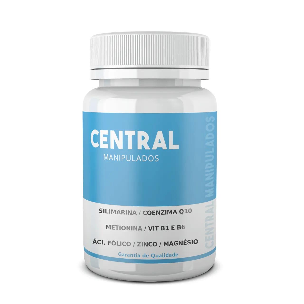 Silimarina 200mg + Coenzima Q10 Ubiquinona 50mg + Metionina 100mg +  Vitamina B1 5mg + B6 10mg + Ácido Fólico 1mg + Zinco 10mg + Magnésio 115mg - 60 cápsulas