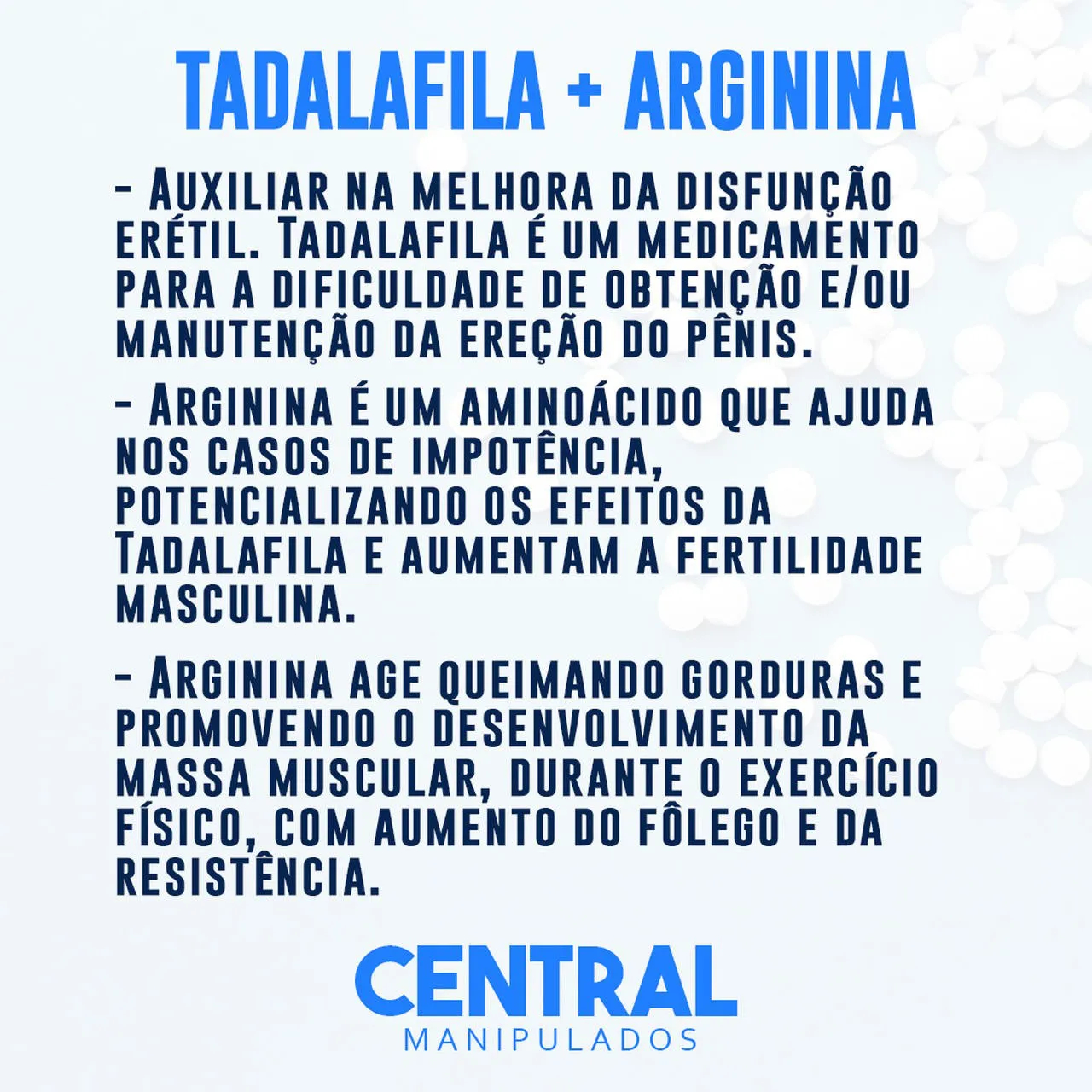 Tadalafila 15mg 30 Cápsulas + Arginina 500mg 30 Cápsulas - Vasodilatação e Ereção