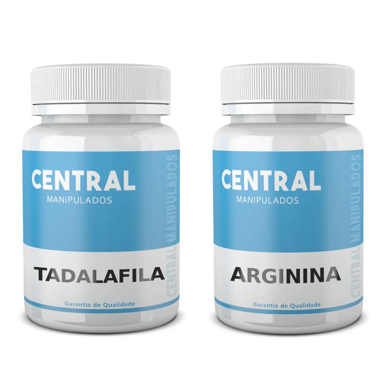 Tadalafila 20mg 30 Cápsulas + Arginina 500mg 30 Cápsulas - Vasodilatação e Ereção