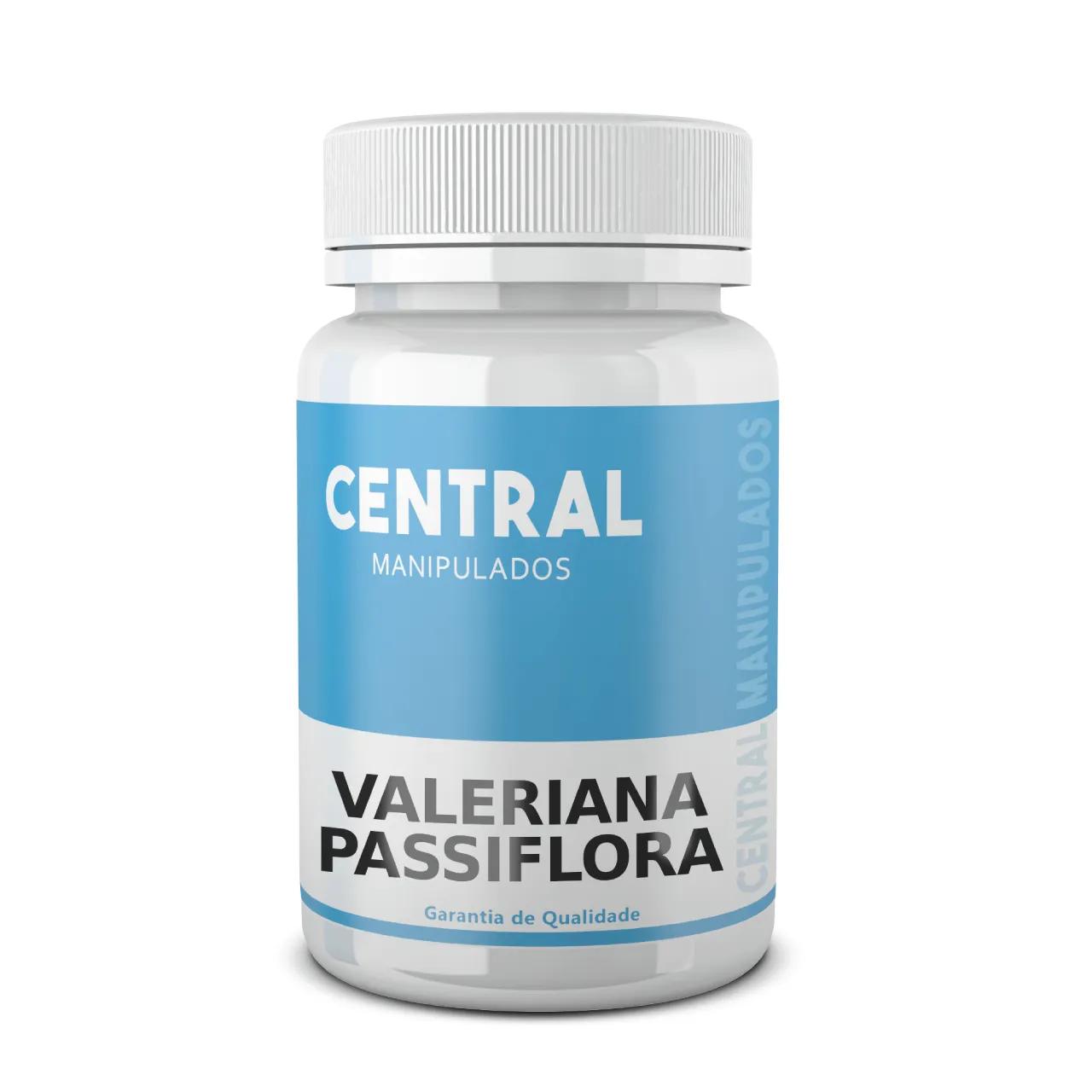 Valeriana 100mg + Passiflora 200mg - 30 cápsulas - Melhora ansiedade, insônia, tensão, estresse. Efeito calmante