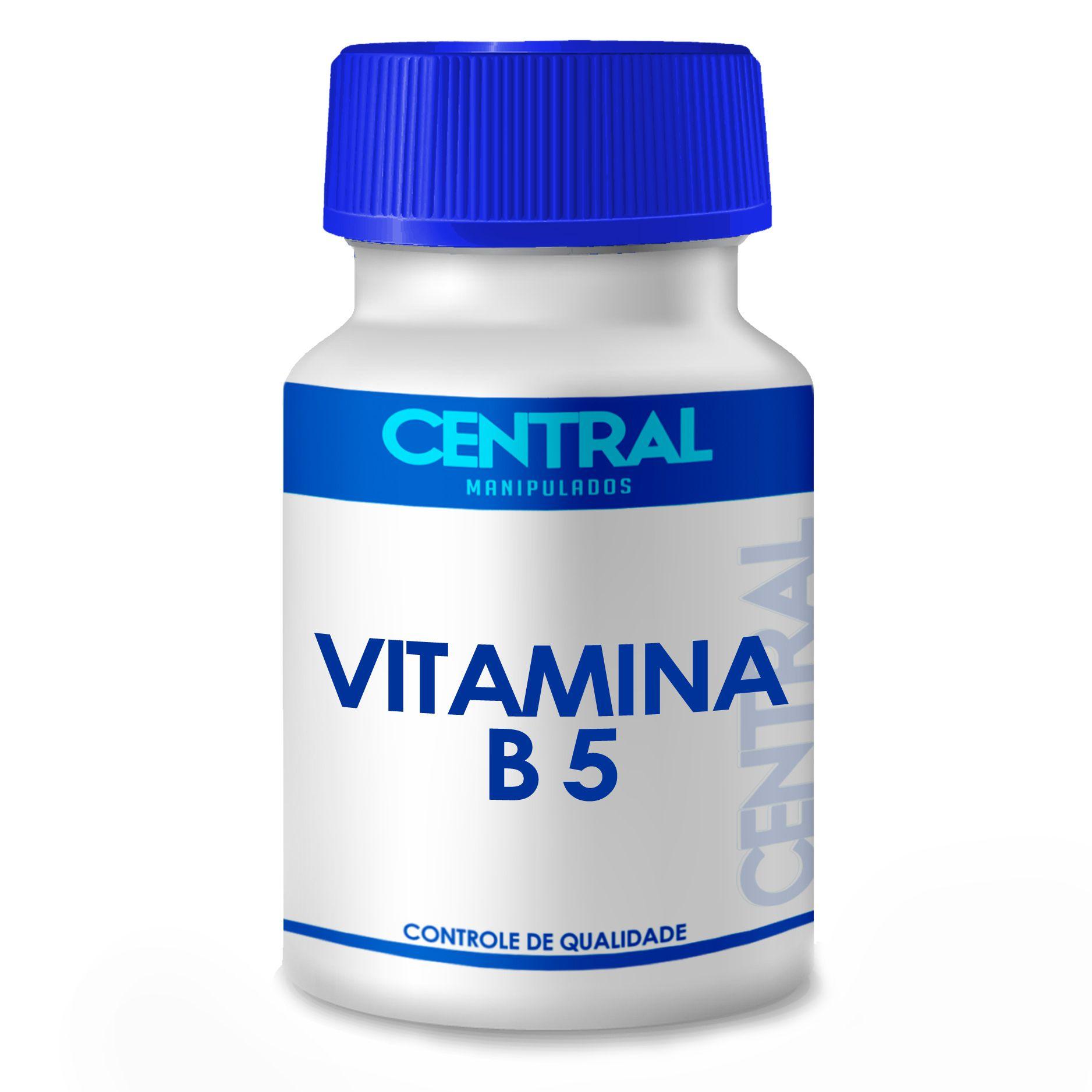 Vitamina B5 500mg 60 cápsulas - Pantotenato de Cálcio - Auxiliar no tratamento de problemas cardíacos, colite, problemas respiratórios e obesidade
