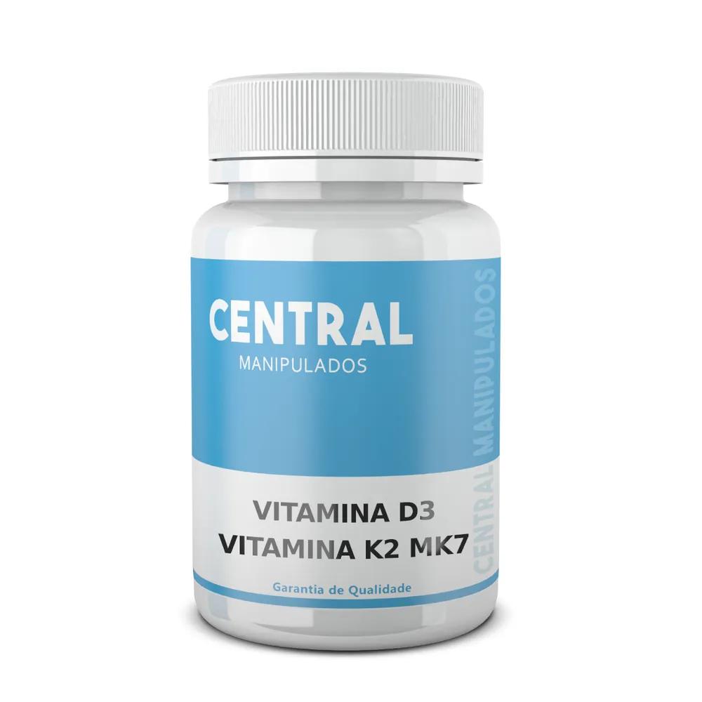 Vitamina K2 MK7 100 mcg + Vitamina D3 10.000 ui 30 cápsulas - Saúde Óssea, Tratamento da Osteoporose,  Benefícios Vasculares, Carência Vit D, Imunidade, Saúde Hormonal
