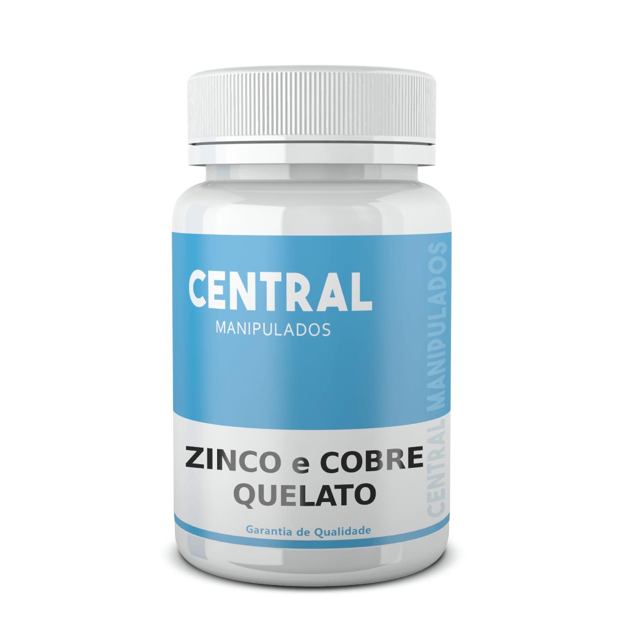 Zinco Quelato 20mg + Cobre Quelato 1mg - 120 cápsulas - Suplemento Mineral