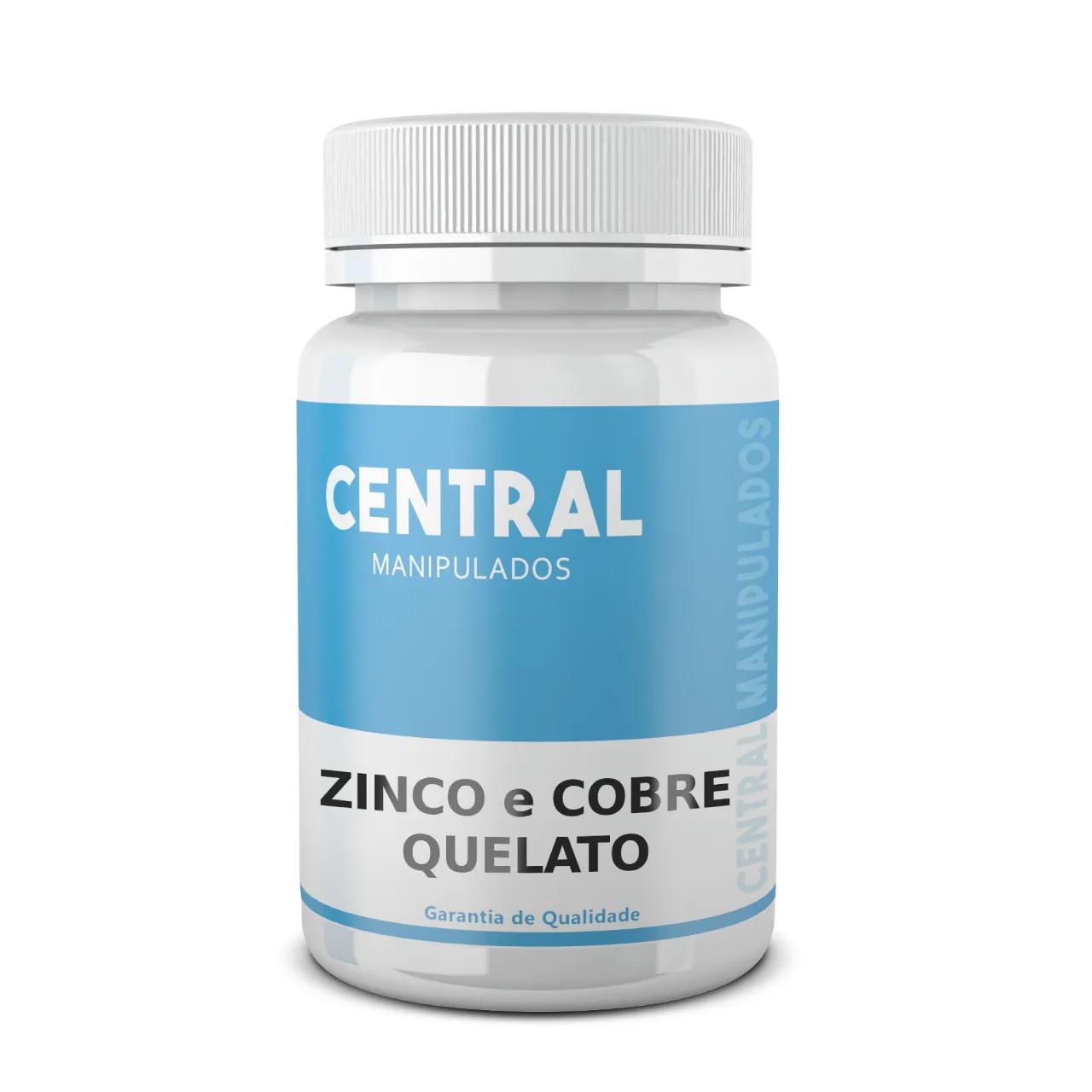 Zinco Quelato 20mg + Cobre Quelato 1mg - 60 cápsulas - Suplemento Mineral