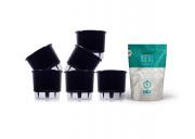 6 Vasos Pequenos N02 + Substrato Ideal