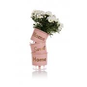 Conjunto 3 Vasos Autoirrigáveis Rosa Quartz Pequenos 12cm x 11cm Home Sweet Home
