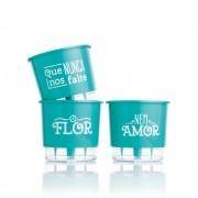 Conjunto 3 Vasos Autoirrigáveis  Verde Raiz -  Flor e Amor - Pequenos 12cm x 11cm - N02
