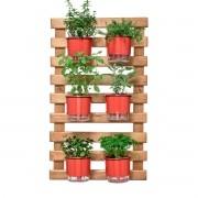 Kit Horta Vertical 60cm x 100cm com 6 Vasos Vermelhos