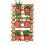 Horta Vertical Caramelo 60cm x 100cm, 6 Vasos e Suporte Preto