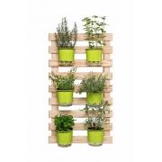Horta Vertical Creme 60cm x 100cm, 6 Vasos e Suporte Preto