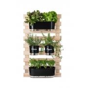 Horta Vertical Creme 60cm x 100cm com 2 Jardineiras e 2 Vasos Gourmet