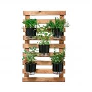 Horta Vertical Caramelo 60cm x 100cm, 5 Vasos e Suporte Preto