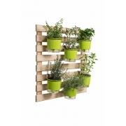 Horta Vertical Creme 80cm x 80cm, 6 Vasos Médios e Suporte Preto