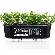 Jardineira Autoirrigável Minha Amada Horta 40cm Preto