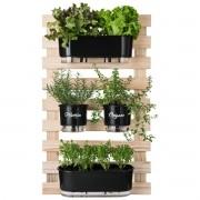 Kit Horta Vertical 60cm x 100cm com 2 Jardineiras e 2 Vasos Médios Gourmet