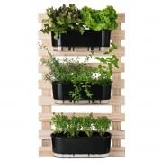 Kit Horta Vertical 60cm x 100cm com 3 Jardineiras Pretas