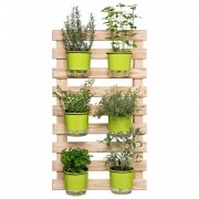 Kit Horta Vertical 60cm x 100cm com 6 Vasos Verdes