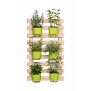 Kit Horta Vertical 60cm x 100cm com 6 Vasos Verde