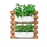 Kit Horta Vertical 60cm x 60cm com 2 Jardineiras Brancas