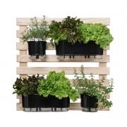 Kit Horta Vertical 80cm x 80cm com 2 Jardineiras e 2 Vasos Pretos