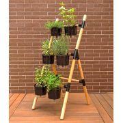 Kit Horta Vertical Escada Eleve Raiz 3 Níveis Preto Completo