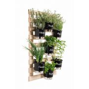 Kit Horta Vertical Gourmet 60cm x 100cm com 7 Vasos Preto