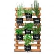 Kit Horta Vertical 60cm x 100cm com 7 Vasos Pretos Gourmet