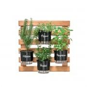 Kit Horta Vertical 60cm x 60cm com 4 Vasos Gourmet
