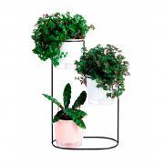 Suporte Aramado Cascata Preto 30cm para 02 Vasos Raiz Pequenos N02