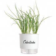 Vaso Autoirrigável Médio Branco Linha Gourmet 16cm x 14cm Cebolinha